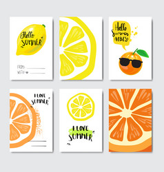 Set summer love citrus badge isolated typographic vector