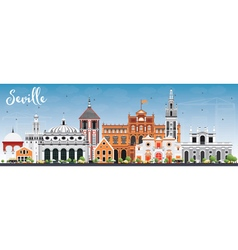 Seville Skyline with Color Buildings and Blue Sky vector image