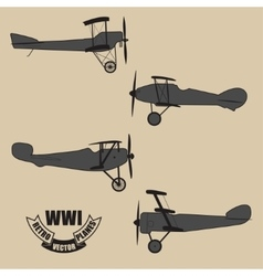 silhouettes retro planes times of World War vector image