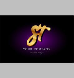 St s t 3d gold golden alphabet letter metal logo vector