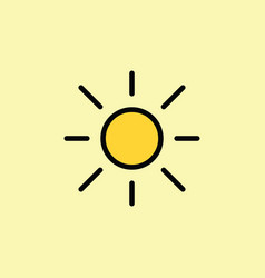 Sun light brightness line icon vector