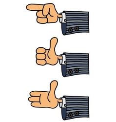 Three funny hands vector