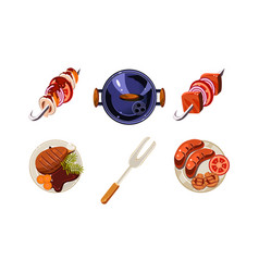 traditional meat dishes set kebab sausage fried vector image