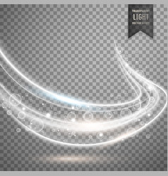 Transparent white light streak background vector