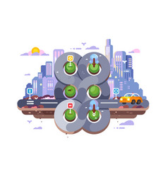 Transport cross road hub on cityscape background vector