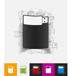 Usb paper sticker with hand drawn elements vector