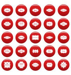 vintage frame icons set vetor red vector image
