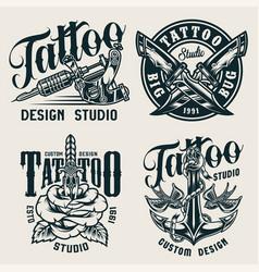 vintage tattoo studio monochrome labels vector image