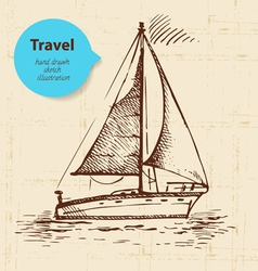 Vintage travel background with boat vector image vector image