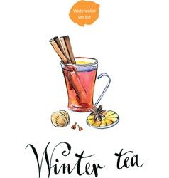 Winter tea vector