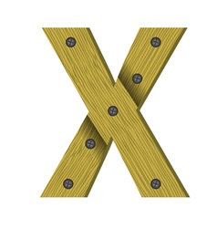 Wood letter X vector