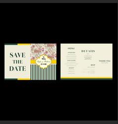 Yellow green wedding invitation template vector