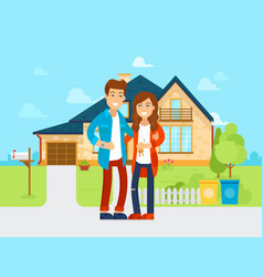young people bought new house flat vector image