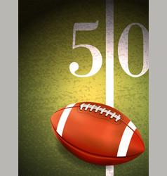 american football sitting on turf field vector image vector image