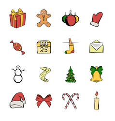 christmas icons set cartoon vector image vector image
