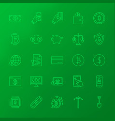 crypto currency line icons vector image