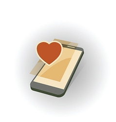 mobile gadget with heart vector image vector image