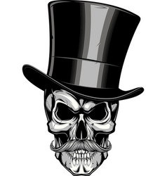 moustached skull in a hat vector image vector image