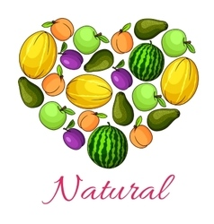 Natural fruits poster of fruit heart shape vector image