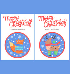 merry christmas and winter fox penguin deer vector image vector image