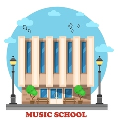 Music school or college conservatory building vector