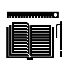studing - open book pen ruler icon vector image