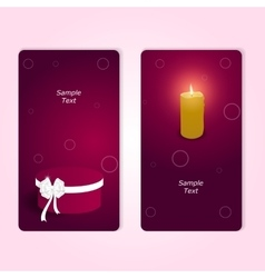 Two vertical elegant festive red gift card with a vector