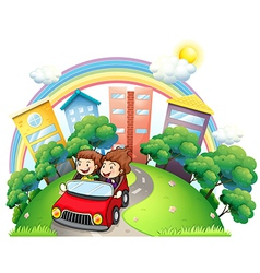 A girl and a boy riding at the car along the road vector image vector image