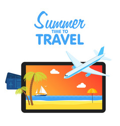 Buy air tickets traveling on airplane planning a vector
