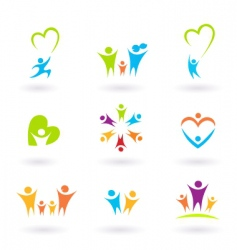 Children and family icons vector