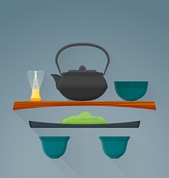 flat matcha tea ceremony icon vector image vector image