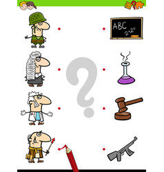 match professions educational game for kids vector image vector image