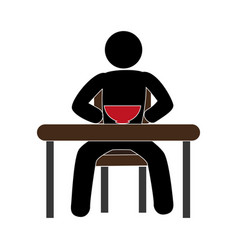 Pictogram with man in the table having breakfast vector