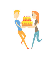 young couple holding festive cake cartoon vector image vector image