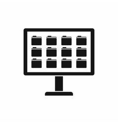 Desktop of computer with folders icon vector image vector image