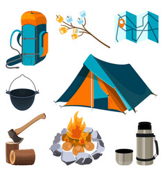 Set of camping elements isolated on white vector
