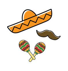 sombrero maracas and mustache vector image