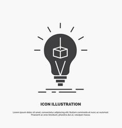 3d cube idea bulb printing box icon glyph gray vector