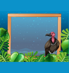 A vulture on night wooden frame vector