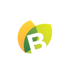 B letter leaf overlapping color logo icon vector