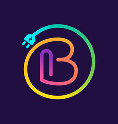 B letter logo in a circle with plug adapter cable vector