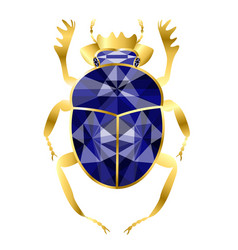beetle of scarab from gold and sapphires jewelry vector image