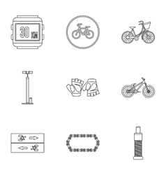 Bicycle parts icons set outline style vector image