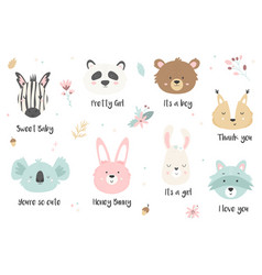 big set of hand drawn cute animals ant text vector image