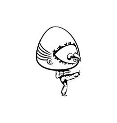 bighead trying karate hand drawn vector image