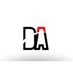 Black white alphabet letter da d a logo icon vector