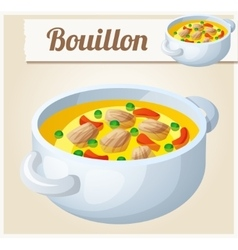 Bouillon with meat and vegetables Detailed vector