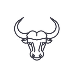 Buffalo head line icon sign vector