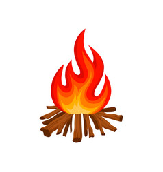 Burning bonfire with wood camping fire vector