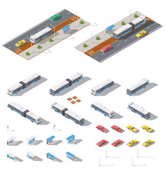 Bus stop and road architecture isometric icon set vector